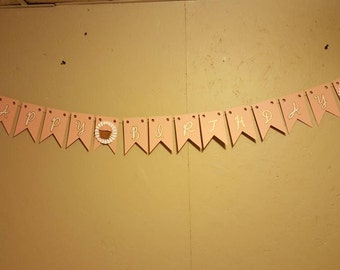 Happy Birthday Cupcake Banner, Pink, Gold, and White with Rosettes, Flag Style