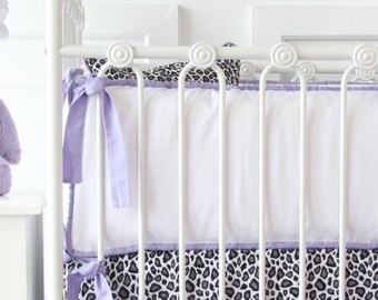Purple and White Crib Bumpers | Purple Leopard Collection | Purple Paige Collection