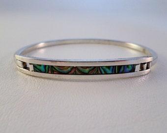 6 3/4 inch 17 cm Abalone Inlay Mexican Hinged Bangle Bracelet, Alpaca Nickel Silver, Boho Southwestern Country Western Wear ID 400259475