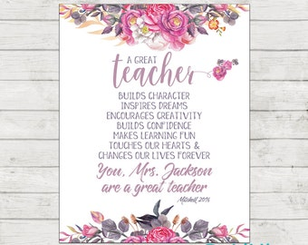 Teacher Appreciation Print - End of Year Teachers Gift - Personalised Teachers Gift - A Great Teacher - Printable File!