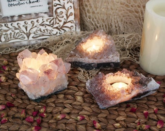 Small Amethyst Cluster Candle Holder - B Grade - Crystal Decor - Metaphysical - Chakra Crystals (RK151B1)