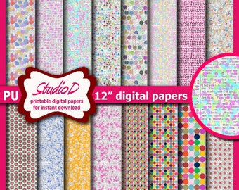 Easter eggs digital paper, 12x12 paper pack, Grungy Easter Scrapbook, Rustic premade pages, Gift wrap for instant download