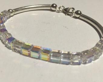 Silver bracelet with Swarovski cubes
