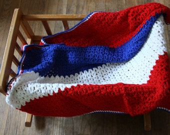 Vintage Baby Afghan Blanket Red White and Blue