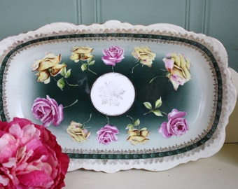 Vintage Rose Transfer Shabby Cottage Plate Catch All
