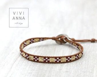 Handwoven bracelet brown golden - A072