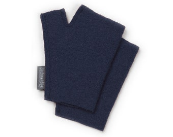 Hand warmers, blue, 100% wool