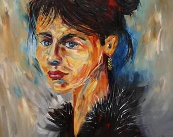 Faces: Sensual Mood M 1 female portrait original acrylic and vibrant painting