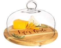 Personalized Acacia Wood Tray with Glass Dome in stock on (10/31/16)