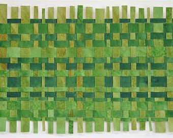 Greenery Paper Weaving- Original Abstract Acrylic Painting- Contemporary Decor- 10x20- Pantone