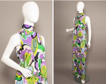 PSYCHEDELIC 60s 70s BOHO Paisley Purple Maxi Dress UK 12
