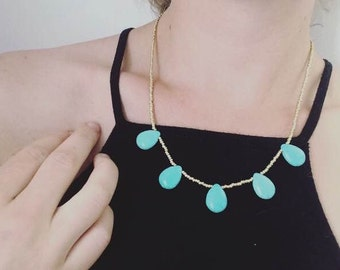 Turquoise Teardrop Stones with Gold Glass Beads
