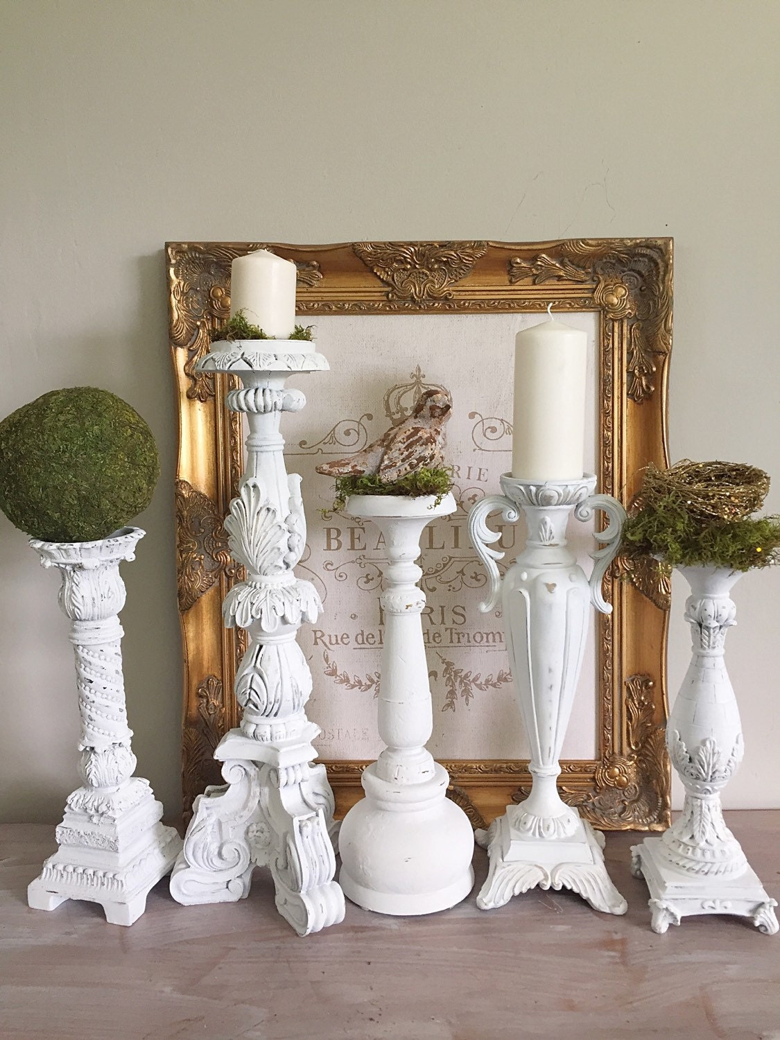 Tall White Candle Holders French Shabby Chic Candlestick