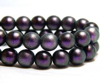8mm Polychrome Black Currant Czech Beads, Purple Beads, Purple Pearls, 8mm Purple Beads, 8mm Pearls, Royal Purple Beads, Pearls, T-4B