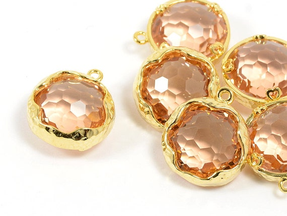 Round Peach Pendant WGOLESALE, Peach Color Glass Pendant with Hammered Frame in Anti-tarnish Gold Plating - 2 pcs/ order