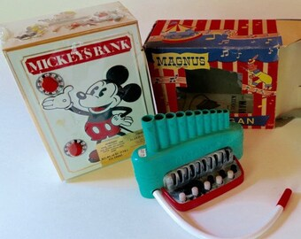 Vintage Mickey Mouse Bank, and Magnus Organ