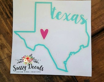 Texas heart decal