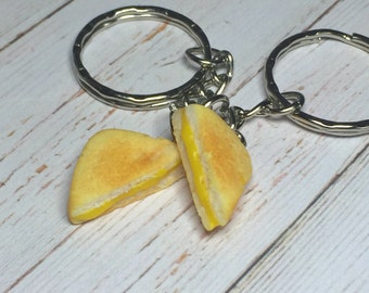 Grilled Cheese Sandwich best friend keychain, miniature food jewelry, toasted cheese, polymer clay food, best friend food, sandwich pendant