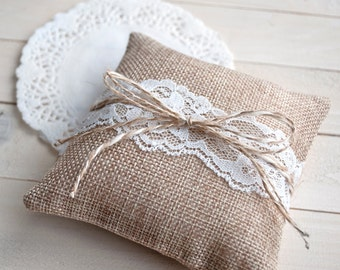 Burlap ring pillow - wedding