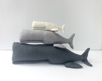 Nursery Whales, stuffed whale toy, nautical nursery toy Black white Child friendly. Nice gift  for baby shower, any gender