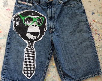Men's Upcycled Denim Shorts Business Monkey patched PACO JEANS