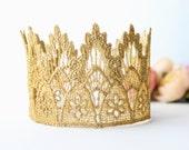 Gold Princess Crown - Lainey - Gold Crown - Mini Tiara - Adult - Baby - Toddler - Lace - Princess - Birthday - Cake Smash - Photography Prop
