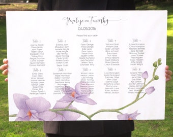 Lilac Orchid Wedding Seating Chart - Printable