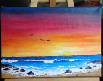 Sunset Ocean Waves Painting