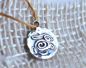 Handcrafted silver swirl bunny, rabbit charm, silver bunny necklace, bunny jewelry, rabbit charm, rabbit jewelry, bunny art, silver spirals,