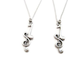 Quarter Note Necklace Music Note Necklace Set Best Friends Necklace  Treble Clef Necklace   Music Lovers Necklace Set Music Gift