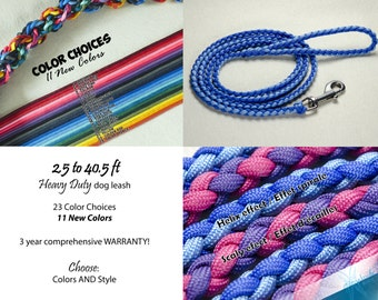 2.5 to 40.5 ft Heavy Duty Dog leash – Stainless steel – Paracord – Customizable: colors, length and style!