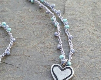 Long Beaded Crochet Necklace
