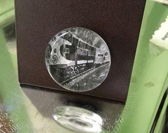 Unique Train Glass Magnet