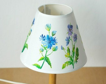 Hand-painted lamp shade with wild flowers