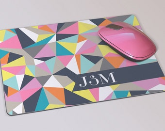Fabric Mousepad, Mousemat, 5mm Black Rubber Base, 19 x 23 cm - Colourful Geometric Design Monogrammed Mousepad Mousemat