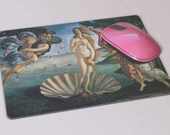 Fabric Mousepad, Mousemat, 5mm Black Rubber Base, 19 x 23 cm -The Birth of Venus Nascita di Venere by Botticelli Mousepad Mousemat