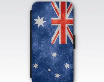 Wallet Case for iPhone 8 Plus, iPhone 8, iPhone 7 Plus, iPhone 7, iPhone 6, iPhone 6s, iPhone 5/5s - Vintage Australia Flag Design Case