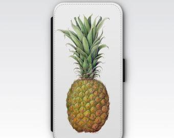 Wallet Case for iPhone 8 Plus, iPhone 8, iPhone 7 Plus, iPhone 7, iPhone 6, iPhone 6s, iPhone 5/5s  - Vintage Pineapple Phone Case