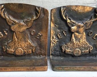 Antique Elks Club BPOE Bronze Finish Cast Iron Bookends circa 1920 **FREE SHIP**