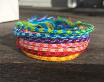 Striped Collection: Thin Woven Friendship Bracelets