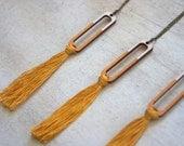 Mustard Yellow Tassel Necklace, Hand Painted Wood Geometric Shape, Fiber Art, Boho, Textile, Yarn, Cotton Tassels