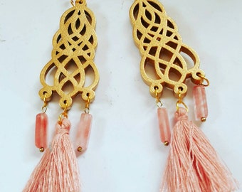 Gorgeous pink and gold tassel earrings