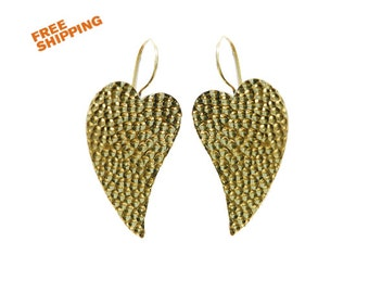 Dangle heart  earrings- Embossed earrings- Gypsy- Boho earrings- Heart