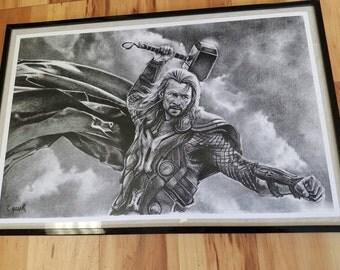 Thor charcoal print.