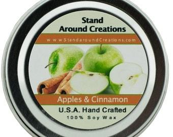 Premium 100% Soy Candle - 2oz Tin - Scent: Apples & Cinnamon