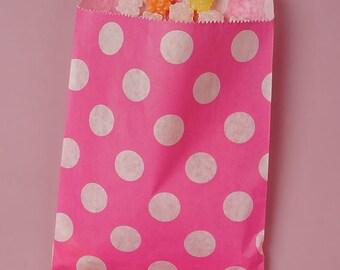 "5-1/8"" x 6-3/8"" Hot Pink Polka Dot Candy Bags - 20 Quantity"