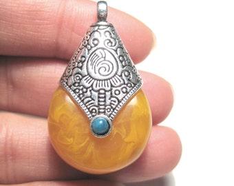 1pc Amber Resin Tibetan Silver Capped Charm Pendant Nepalese Amber Teardrop Pendant 37mm