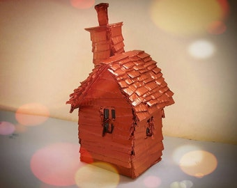 Little Copper House Model Sculpture Decoration Gift - Copper Painted Miniature Small House - MADE TO ORDER