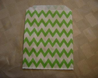 25 Lime Green and White Chevron Candy Bag for Birthday Party, Wedding Shower, Baby Shower, Paper Favor Bag,  Cookie Treat Wrap