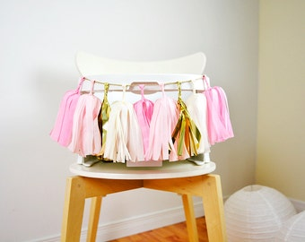 Mini Pink Gold Tassel Garland, Pink High Chair, Pink Baby Girl, Baby Girl Birthday, Pink First Birthday, Girl Cake Smash, Pink Cake Smash
